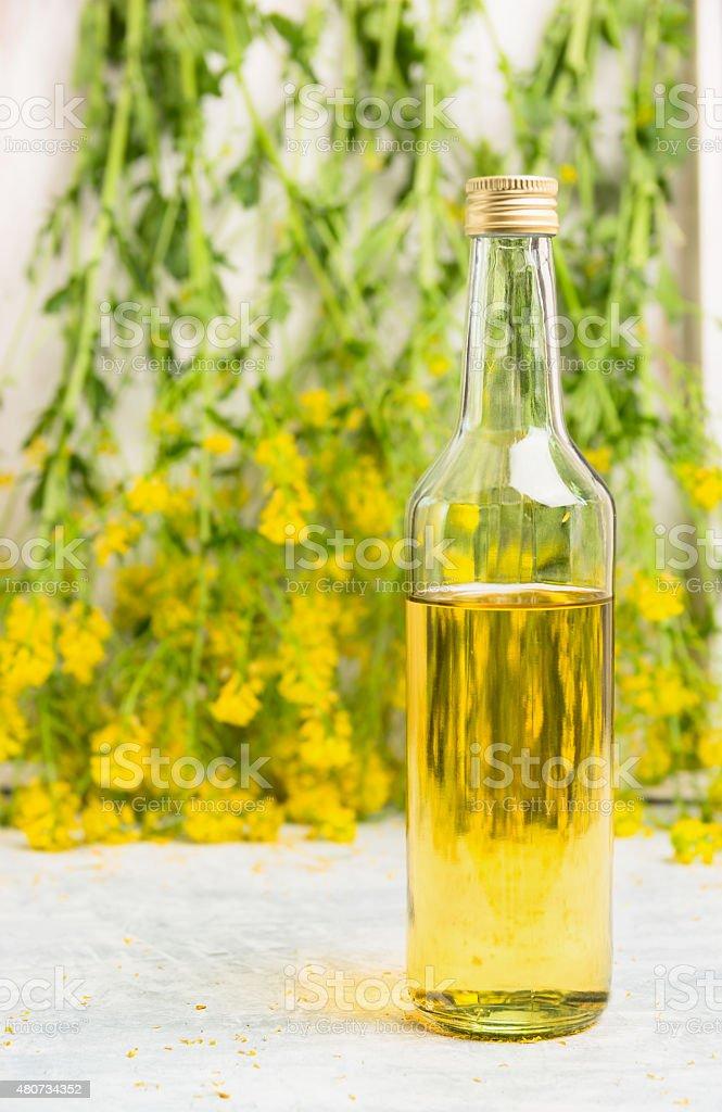 Bottle of rapeseed oil over fresh rape flowers stock photo