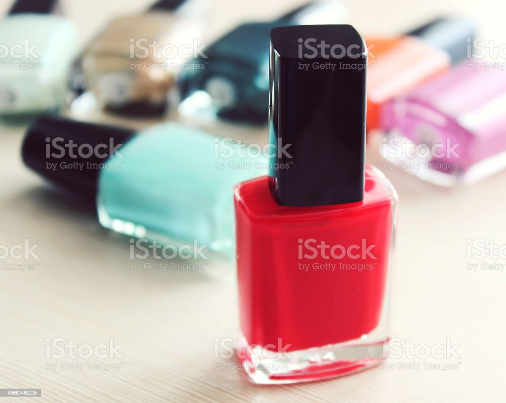 Bottle of red nail polish closeup royalty-free stock photo
