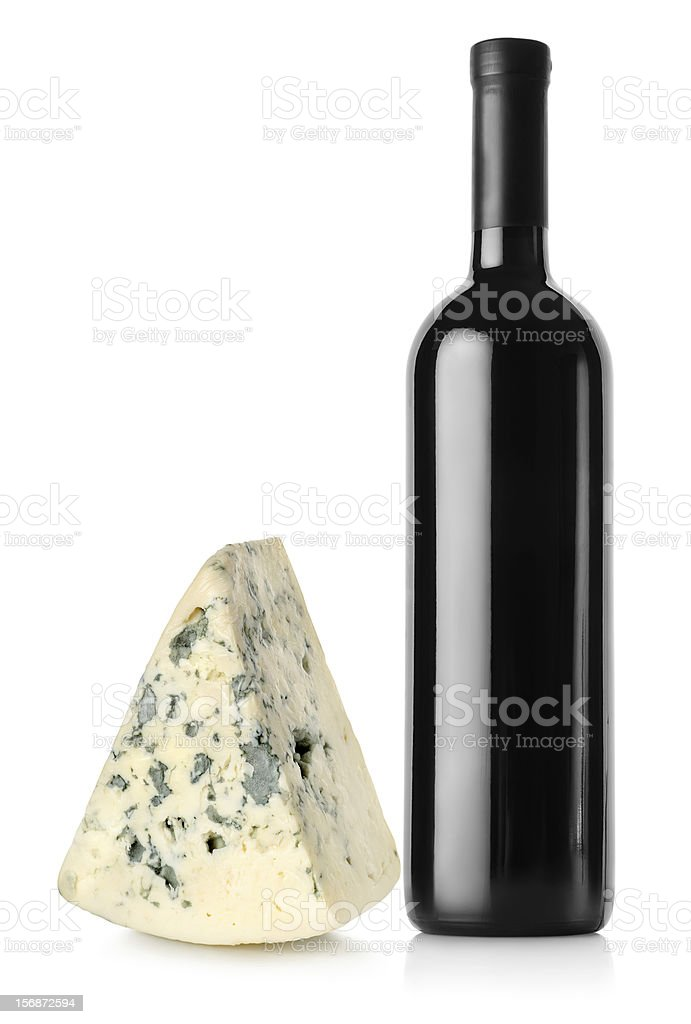 Bottle of red wine and blue cheese stock photo