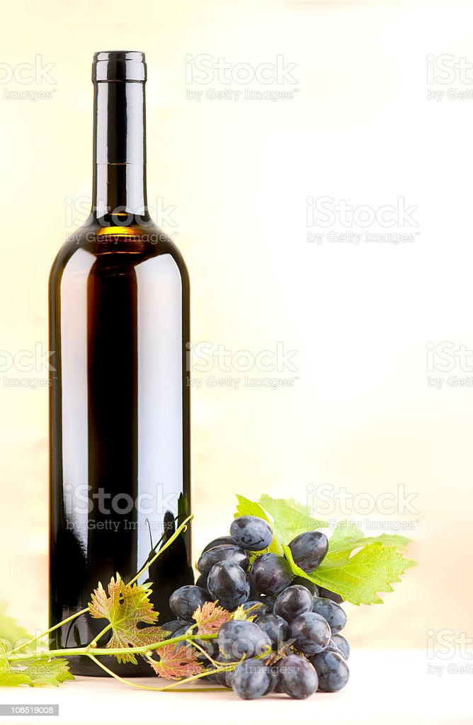 Bottle of red wine decorated with grapes. stock photo