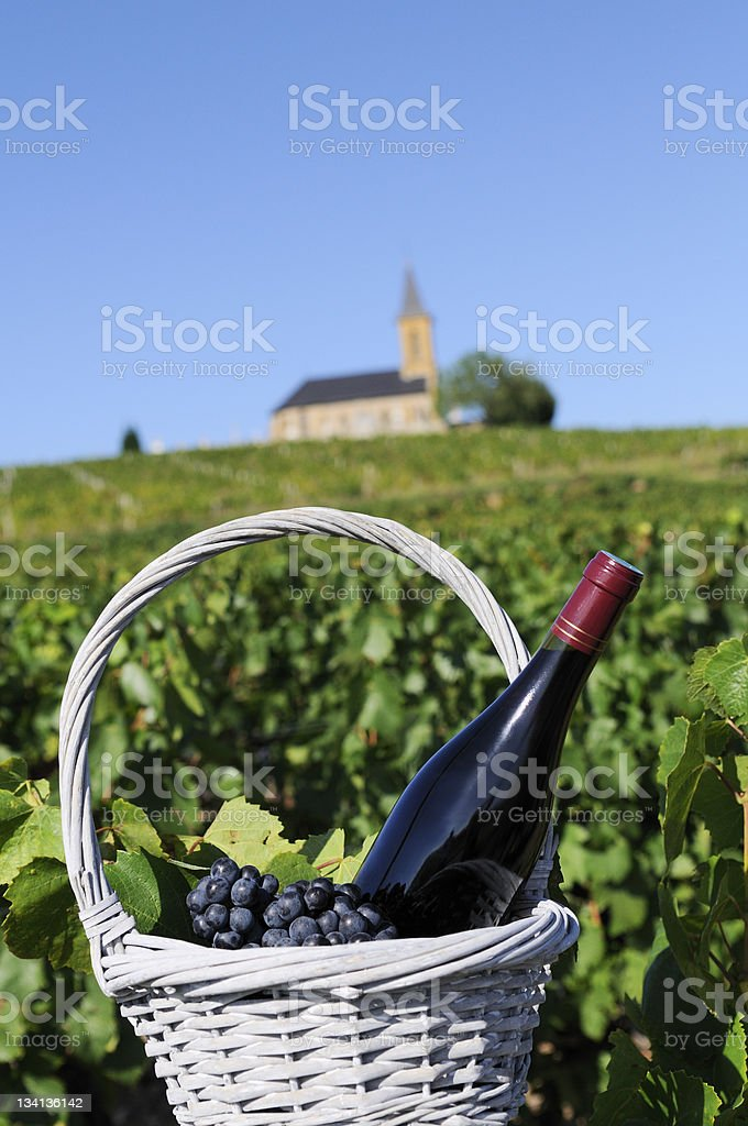 bottle of red wine in countryside royalty-free stock photo