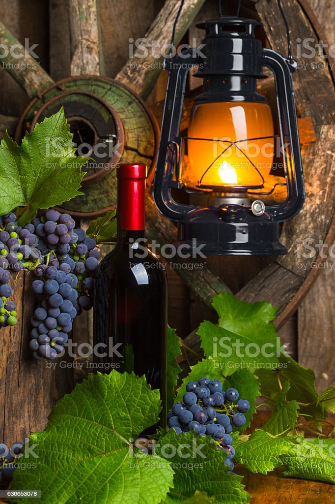 bottle of red wine on the background of stock photo