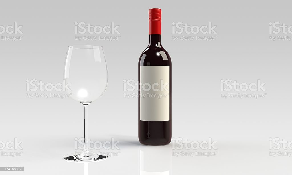 Bottle of red wine with empty glass isolated royalty-free stock photo