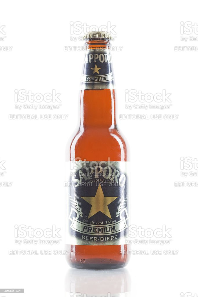 Bottle of Sapporo Premium Beer royalty-free stock photo