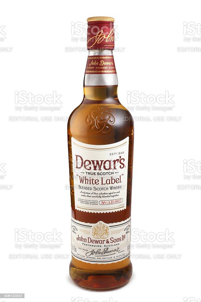 Bottle of Scotch Whisky, Dewar's White Label stock photo