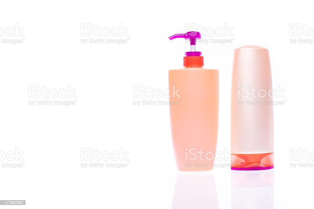 bottle of shampoo and hair conditioner stock photo