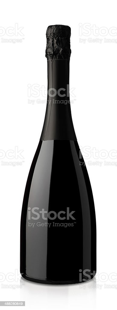 bottle of sparkling wine on a white background stock photo
