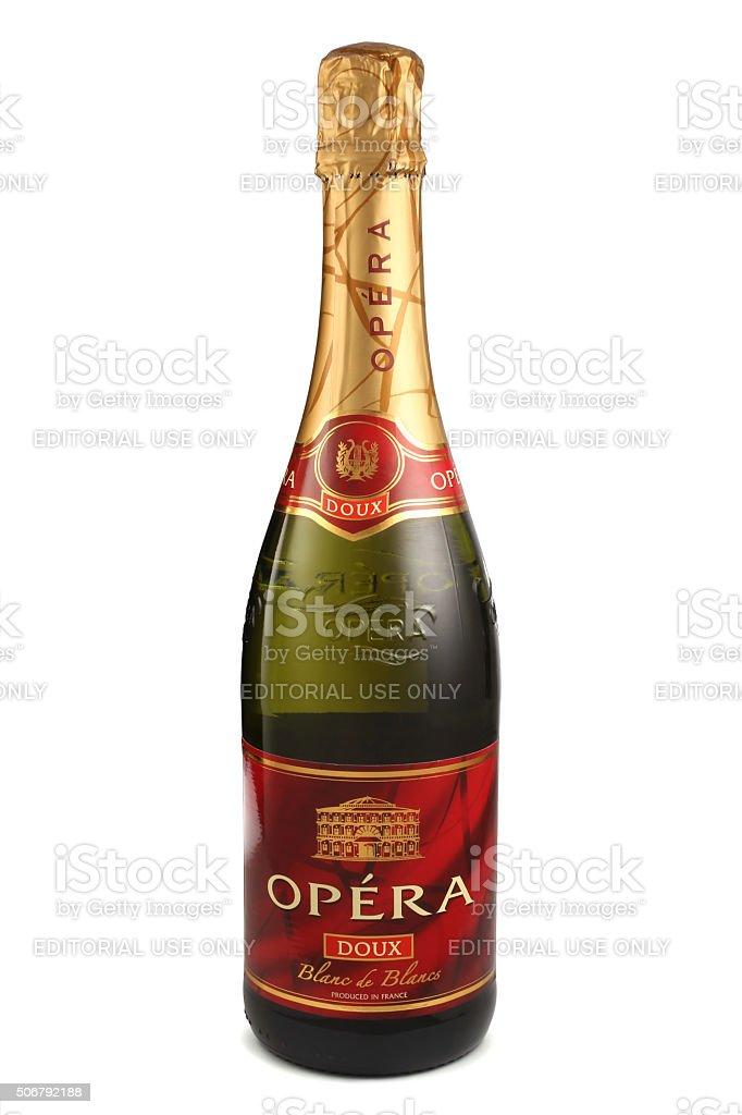Bottle of sparkling wine, Opera Blanc de Blancs Doux stock photo