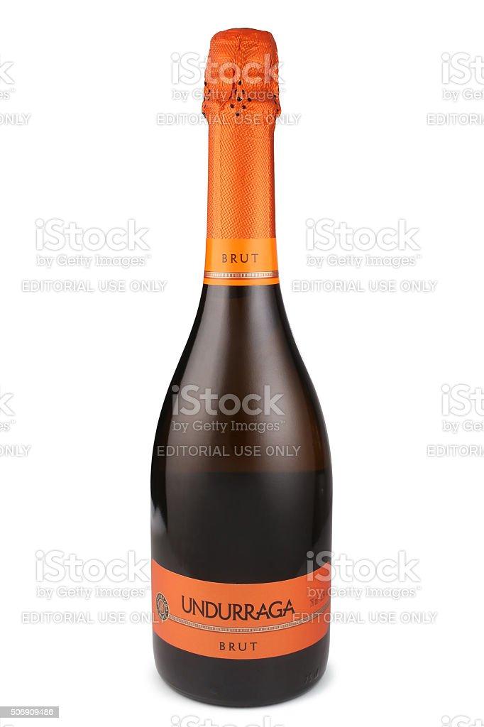 Bottle of sparkling wine, Undurraga Brut, Chile stock photo