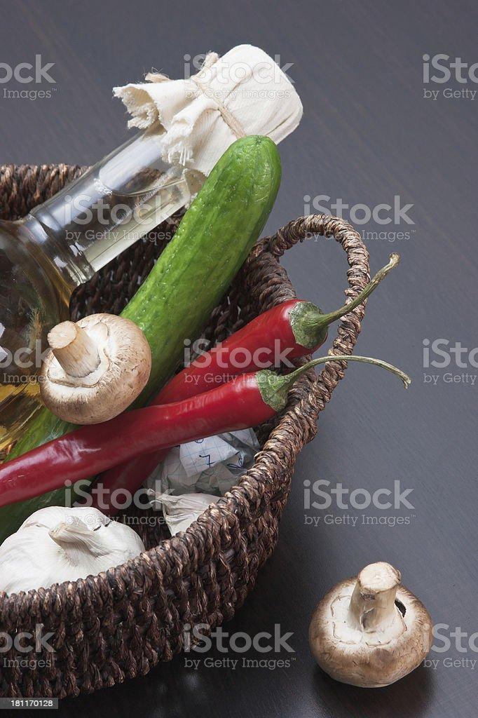 bottle of sunflower oil and vegetables royalty-free stock photo