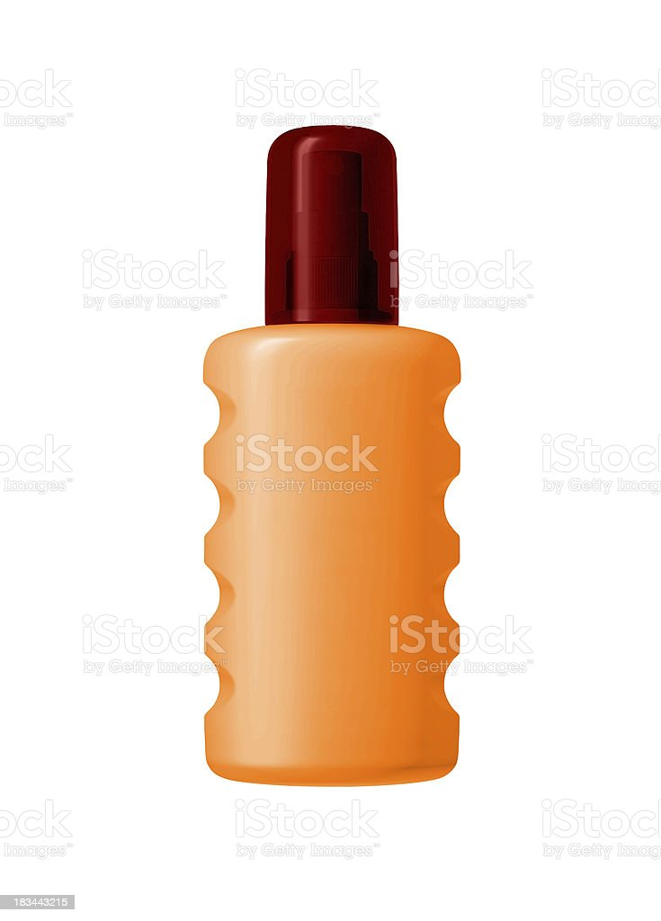 Bottle of sunscreen isolated over the white background royalty-free stock photo