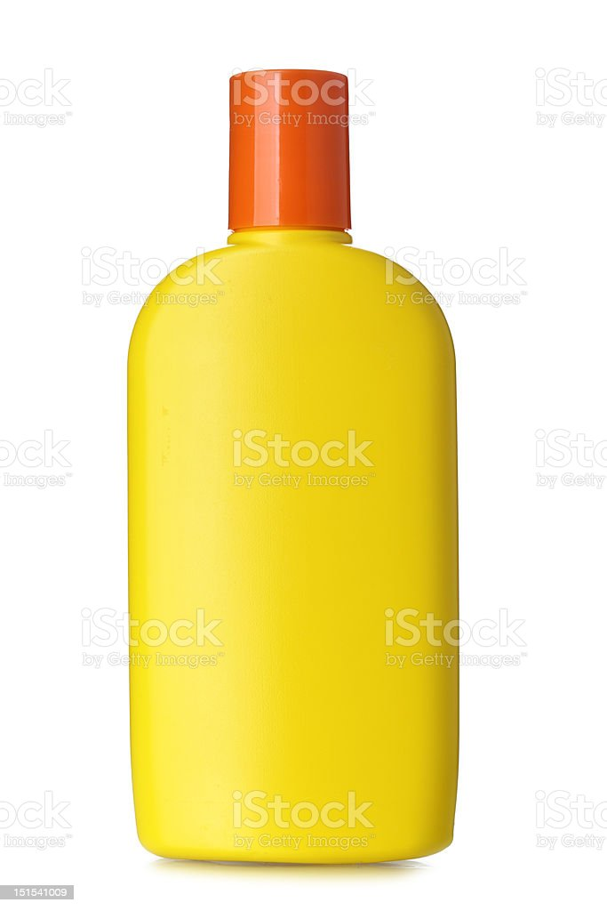 Bottle of sunscreen royalty-free stock photo