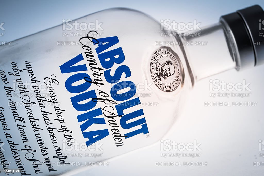 Bottle of Swedish vodka Absolut. stock photo