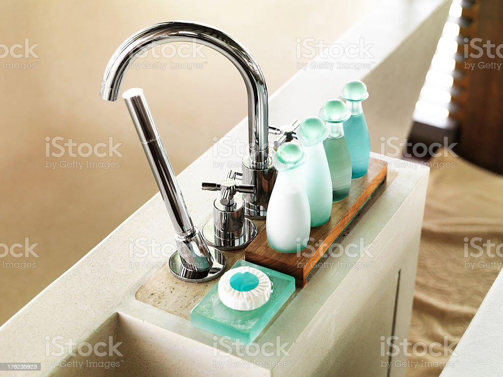Bottle of toiletries in a luxurious hotel bathroom stock photo