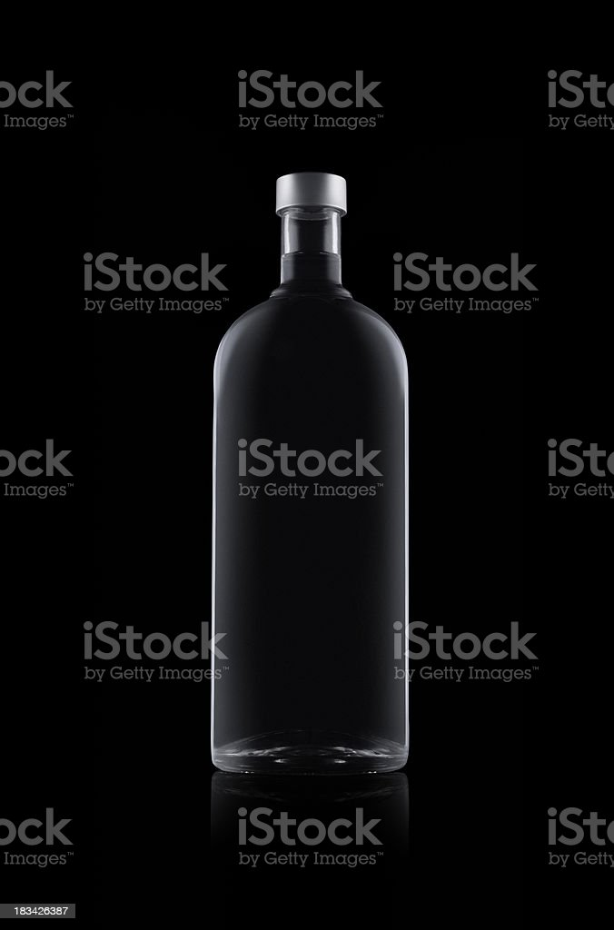 Bottle of water isolated on black background stock photo