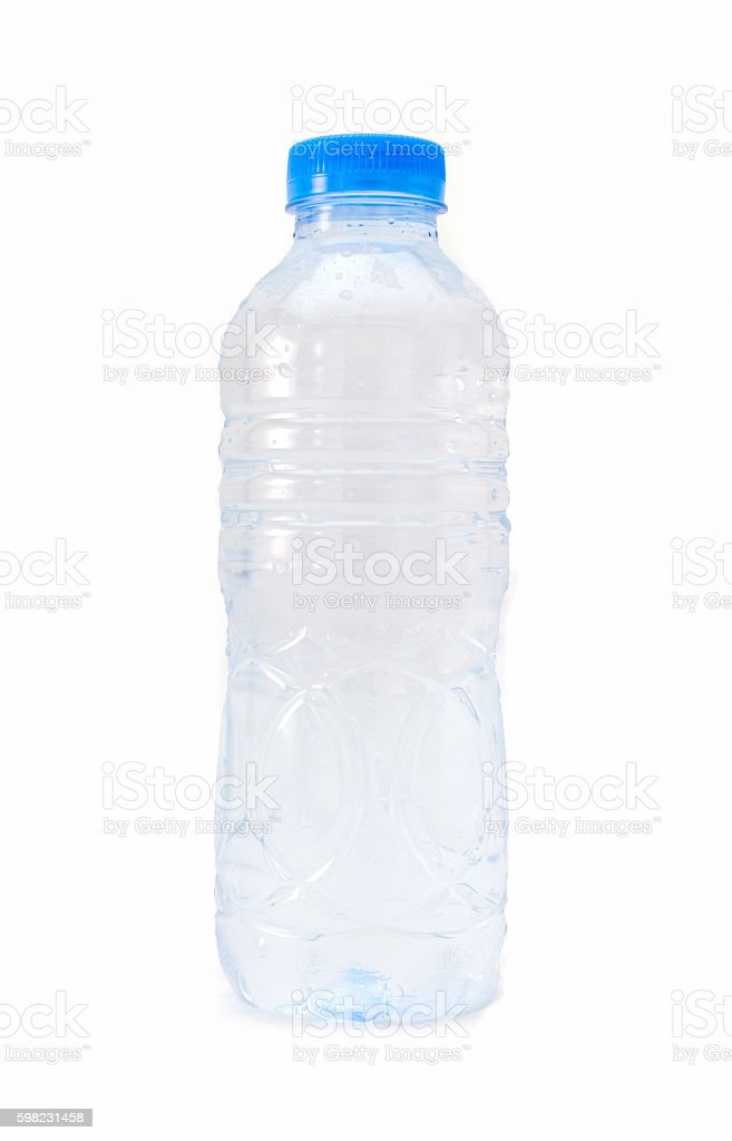 bottle of water on isolated white background stock photo