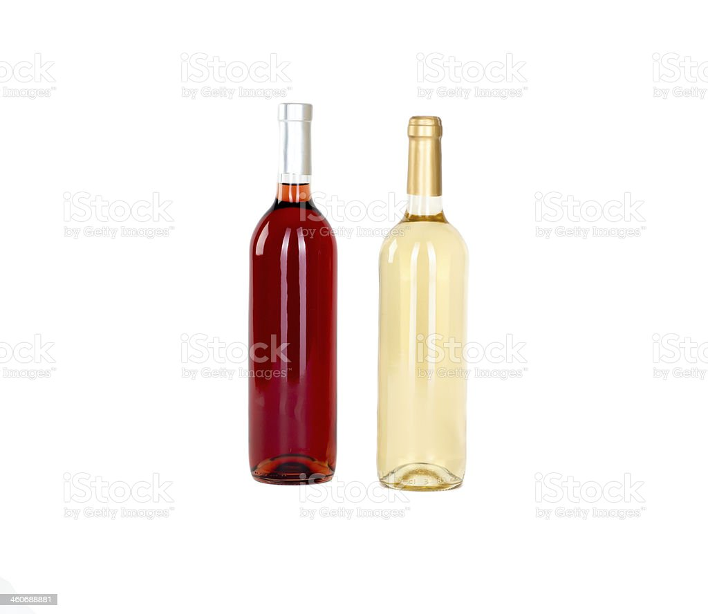 bottle of white and rose wine stock photo