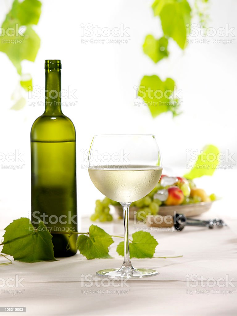 Bottle of white wine and glass royalty-free stock photo