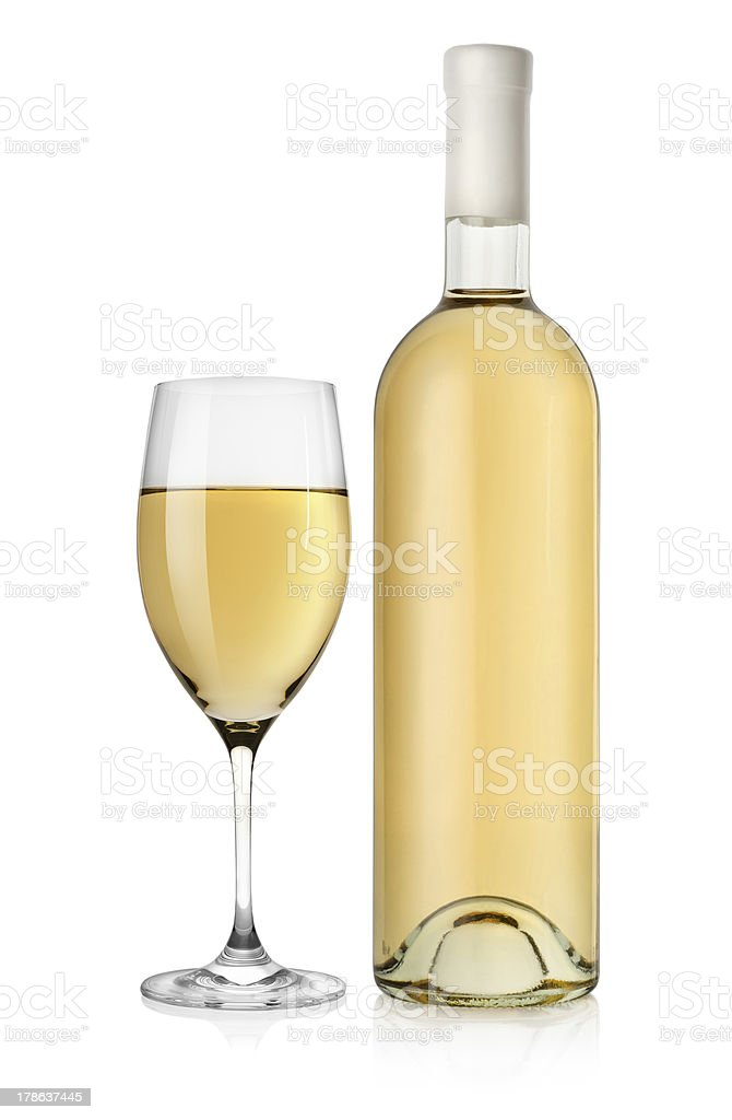 Bottle of white wine and glass stock photo