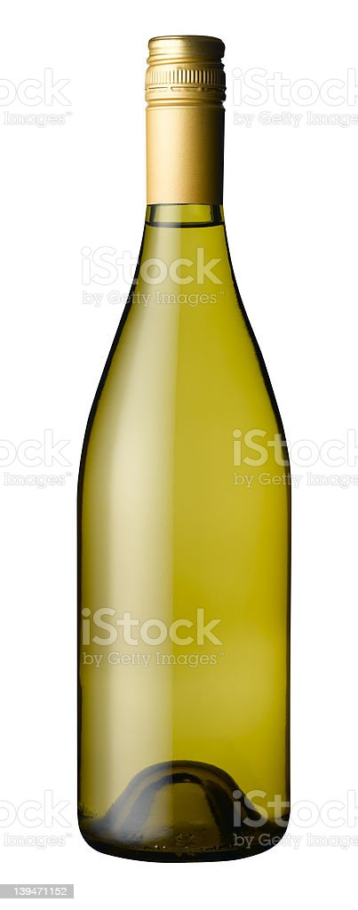Bottle of white wine with clipping path stock photo