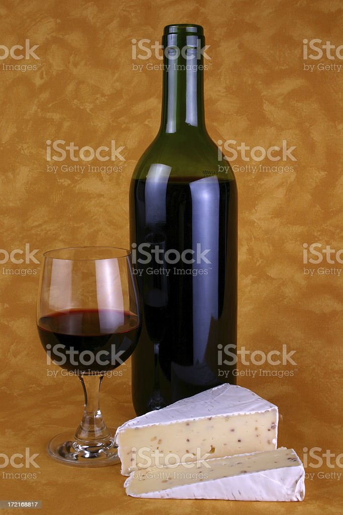 Bottle of wine and cheese royalty-free stock photo
