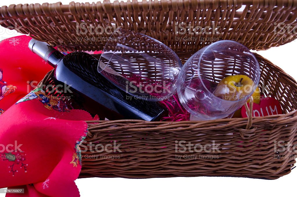 Bottle of wine and two glasses in a picinic box royalty-free stock photo
