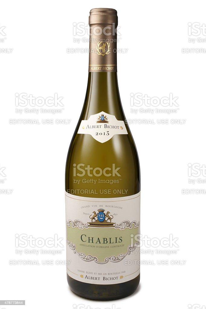 Bottle of Wine, Chablis of Albert Bichot stock photo
