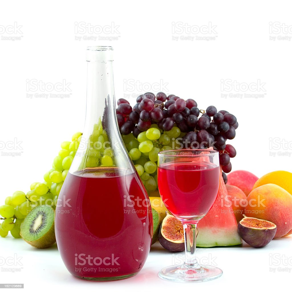 Bottle of wine, glass and fruits royalty-free stock photo