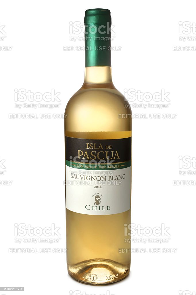 Bottle of wine Isla De Pascua Sauvignon Blanc stock photo