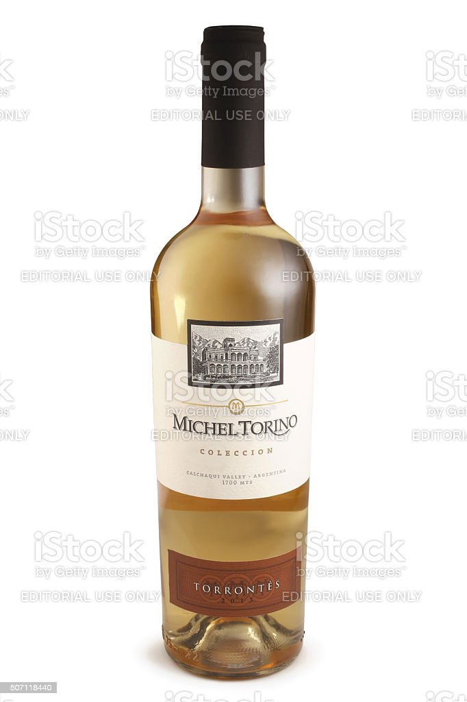Bottle of wine, Michel Torino Torrontes, Argentina stock photo