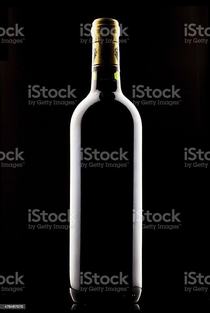 bottle of wine over black background royalty-free stock photo