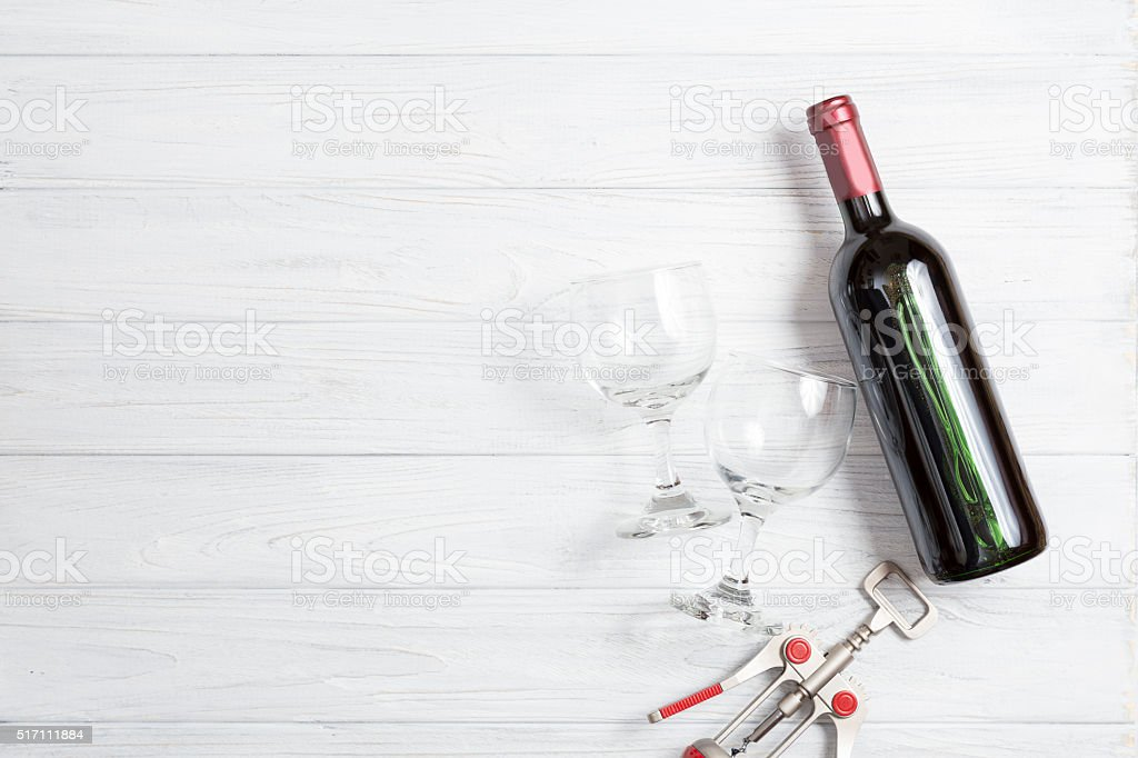 bottle of wine stock photo