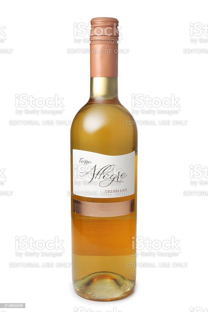 Bottle of wine, Terre Allegre Trebbiano Veneto, Italy stock photo