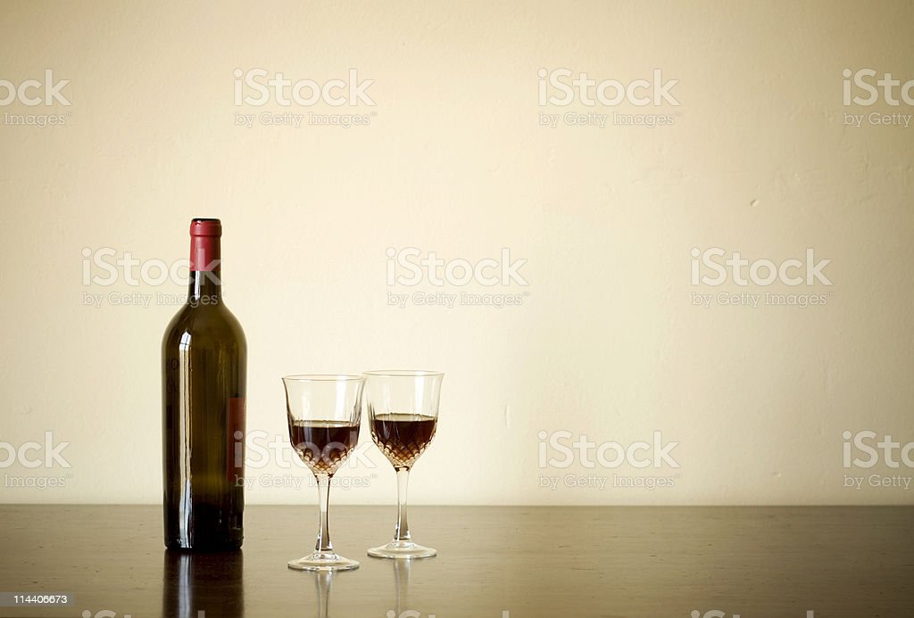 Bottle of Wine with Goblets royalty-free stock photo