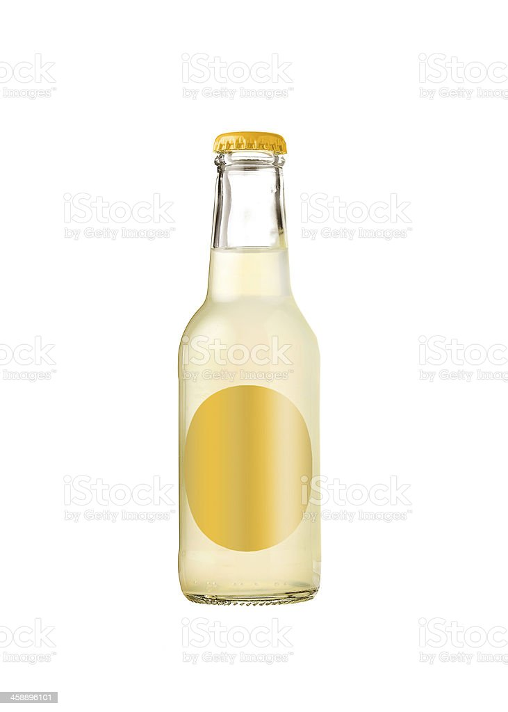 Bottle of yellow lemonade isolated on white background stock photo