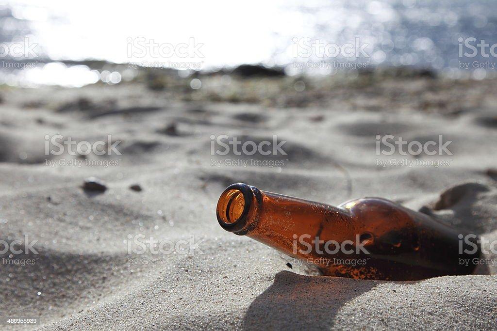bottle on beach royalty-free stock photo