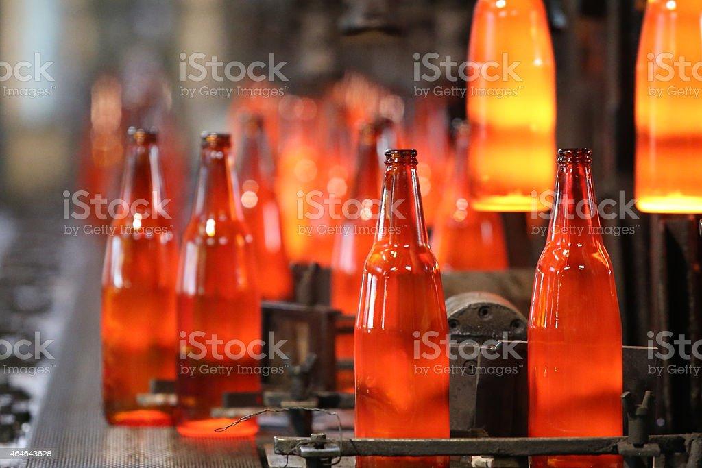 bottle production line stock photo
