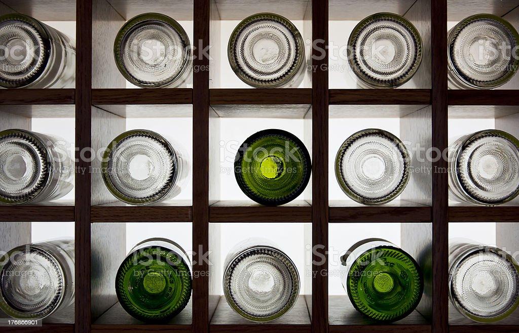 Bottle rack of warehouse  wine to cross-light royalty-free stock photo