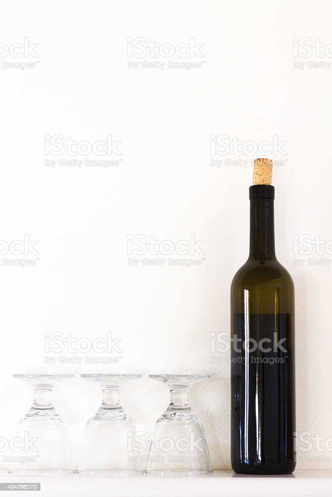 Bottle Red Wine, 3 Wine Glasses, White Background, Copy Space stock photo