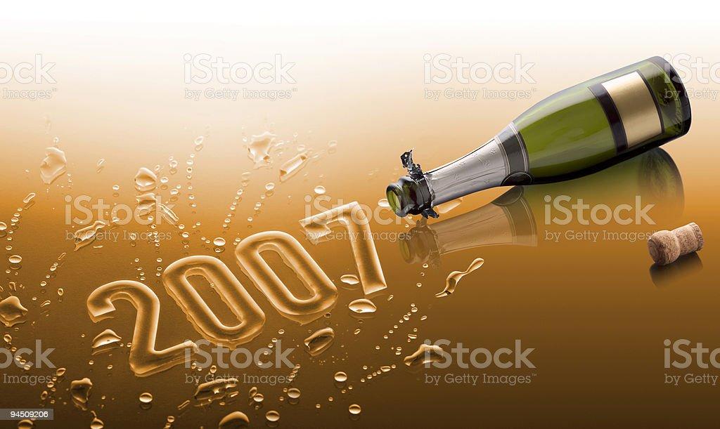 Bottle saying Happy new year 2007 stock photo