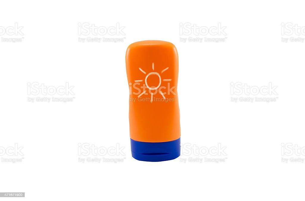 Bottle sunblock cream isolated on white background stock photo