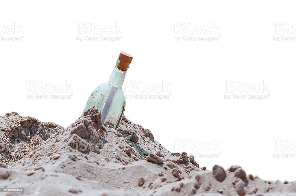 bottle with a note stock photo
