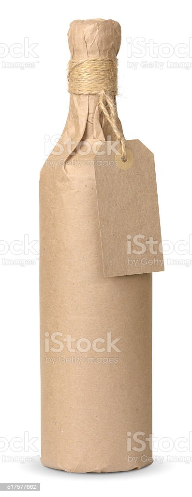 bottle with a price tag stock photo