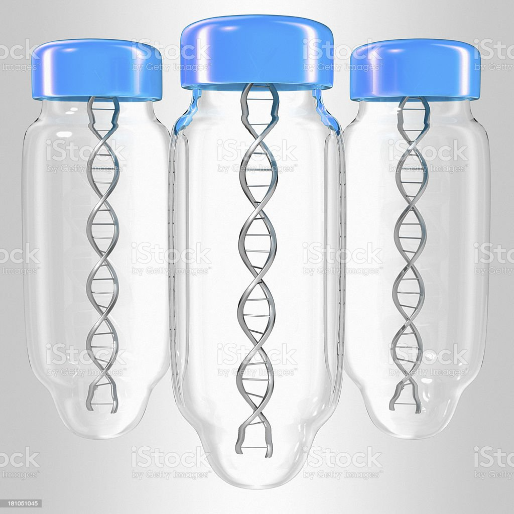 Bottle with DNA inside royalty-free stock photo