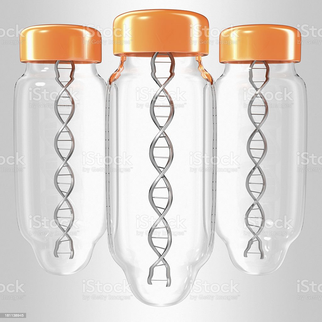 Bottle with DNA inside stock photo