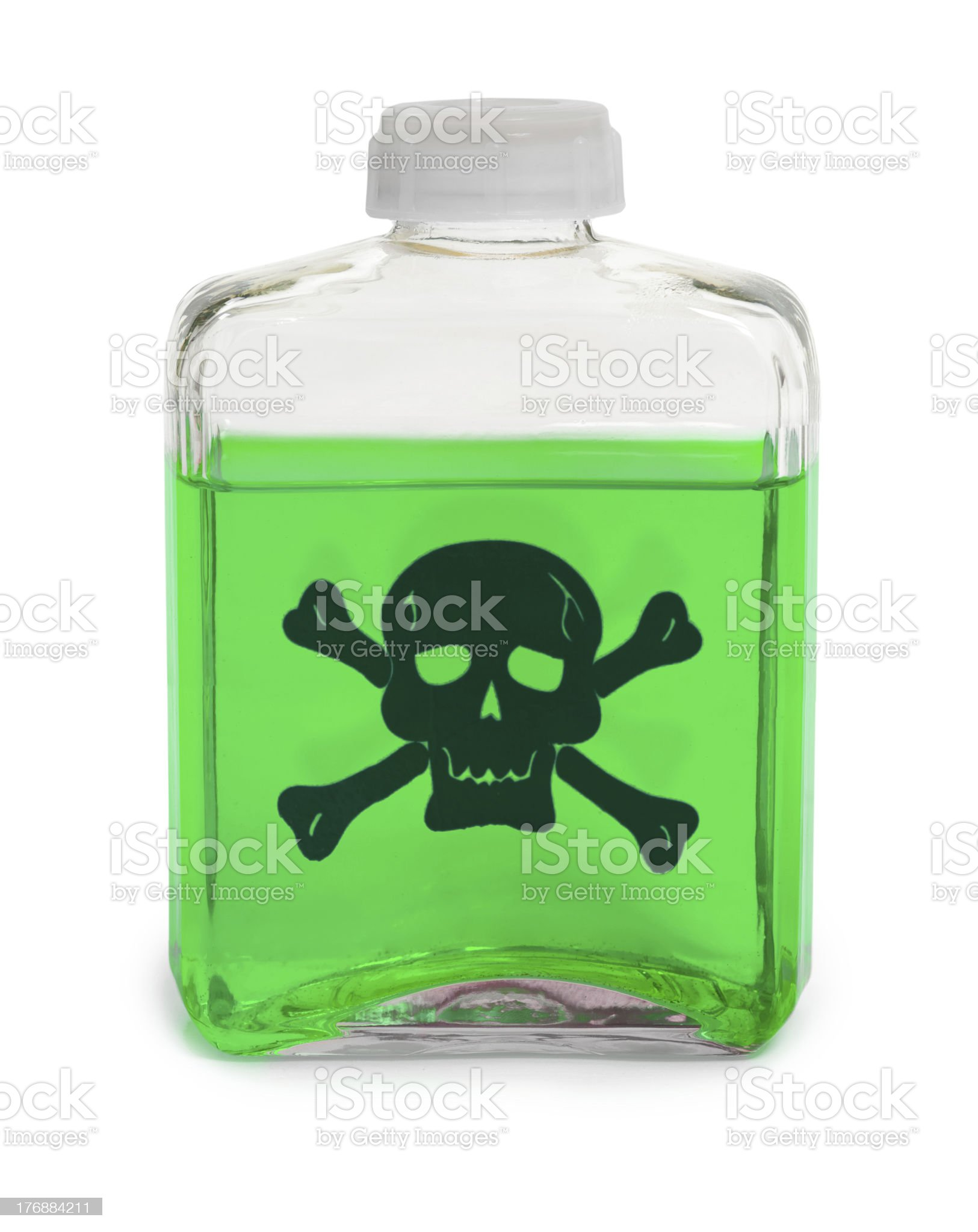 Bottle with green toxic chemical solution royalty-free stock photo