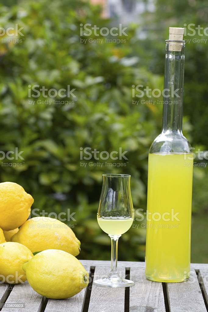 Bottle with limoncello royalty-free stock photo