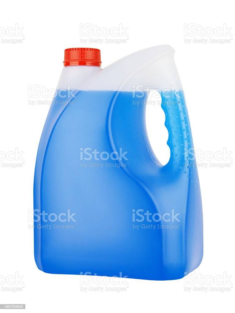 Bottle with non-freezing cleaning liquid stock photo