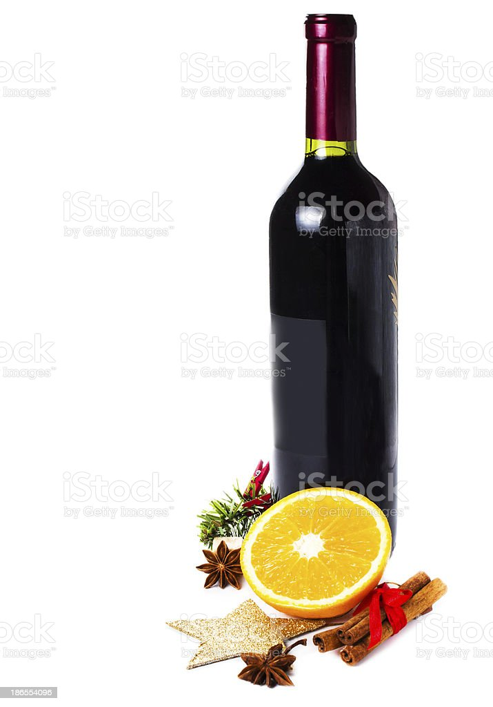 Bottle With Red Wine for Christmas Hot Mulled royalty-free stock photo