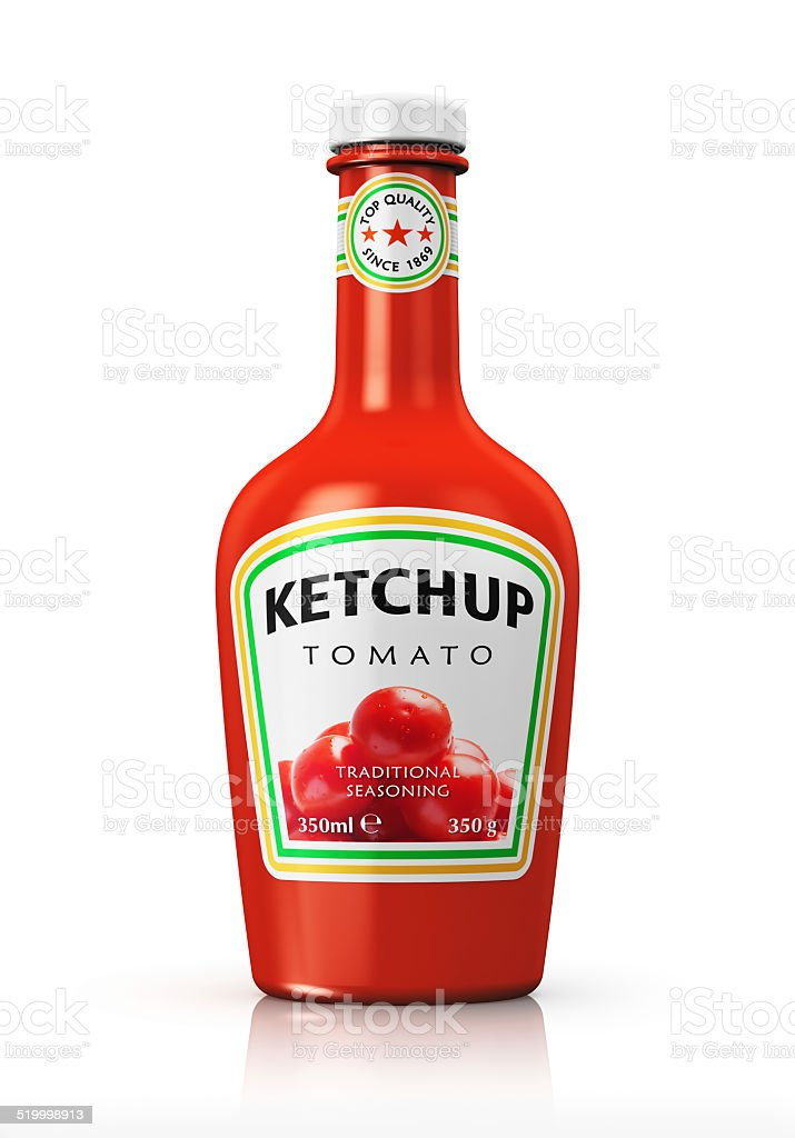 Bottle with tomato ketchup stock photo